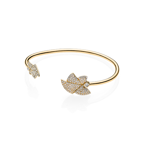 Angel of Purity Pave Bangle - White G/vs Diamonds in 18 K Yellow Gold