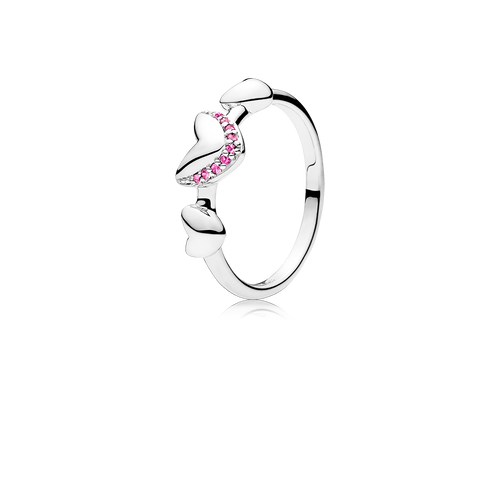 Heart ring in 925 sterling silver with pink sapphires