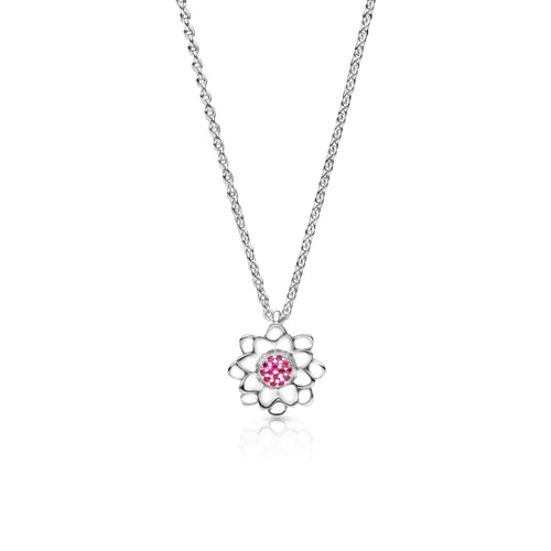 Lotus Necklace - sterling silver with rubies