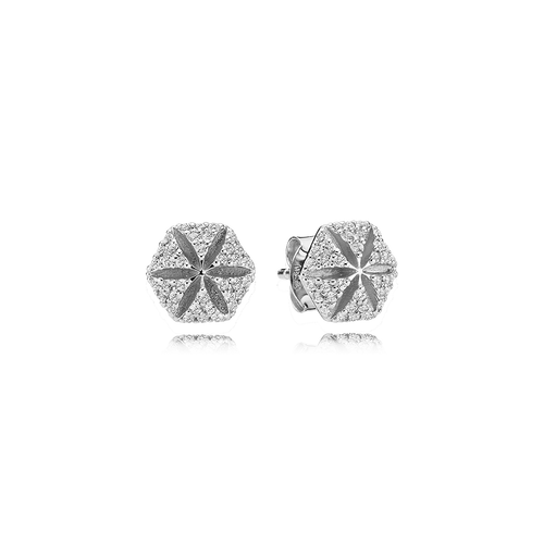 Hexagon Earrings - White Sapphires in 925 Sterling Silver