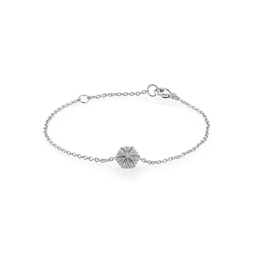Hexagon Bracelet - White Sapphires in 925 Sterling Silver