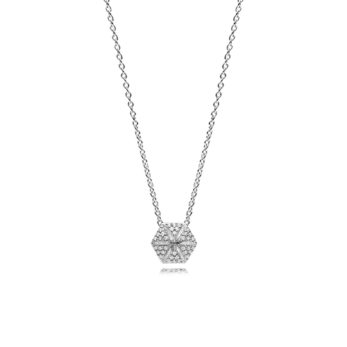 Hexagon Necklace - White Sapphires in 925 Sterling Silver
