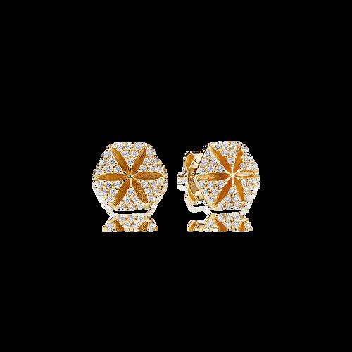 Hexagon Earrings - White Diamonds in 18 K Yellow Gold