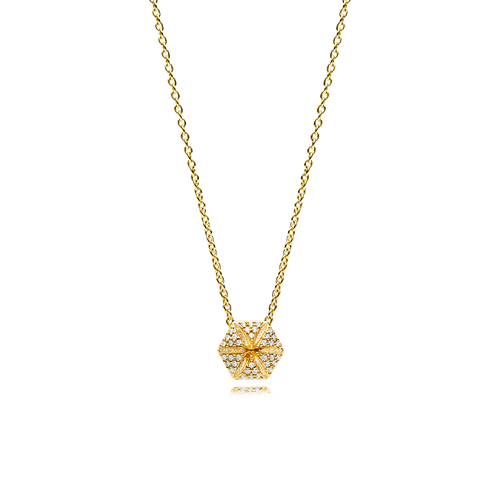 Hexagon Necklace - White Diamonds in 18K Yellow Gold