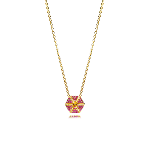 Hexagon Necklace - Rubies in 18K Yellow Gold