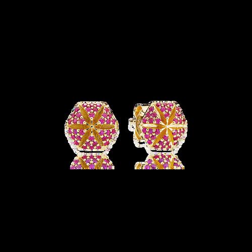 Hexagon Earrings Rubies in 18K Yellow Gold