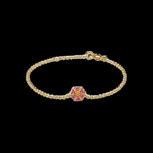 Hexagon Bracelet - Rubies in 18K Yellow Gold