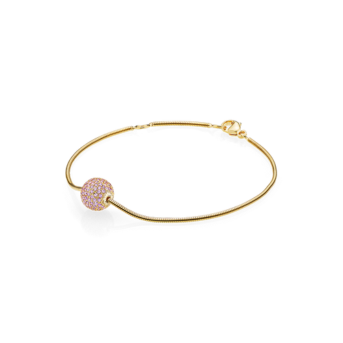 Sphere Bracelet - Pink Sapphires in 18K Yellow Gold