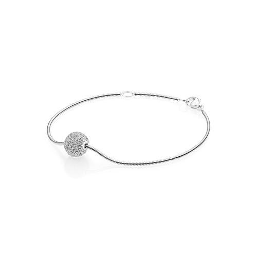 Sphere Bracelet - White Sapphires in 925 Sterling Silver