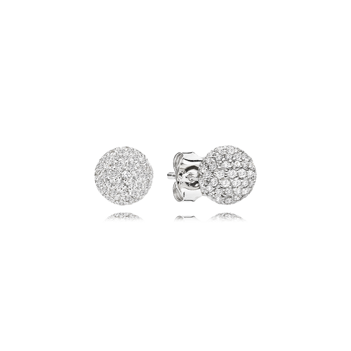Sphere Earrings - White Sapphires in 925 Sterling Silver