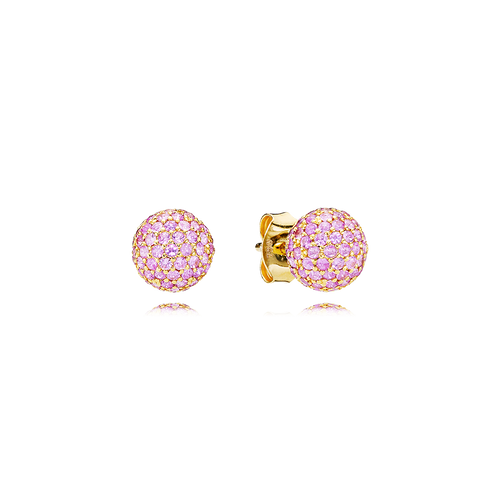 Sphere Earrings - Pink Sapphires in 18K Yellow Gold