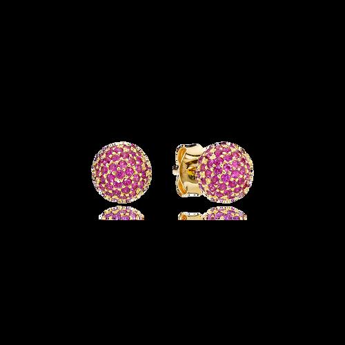 Sphere Earrings - Rubies in 18K Yellow Gold