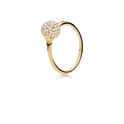 Sphere Ring - White Diamonds in 18K Yellow Gold