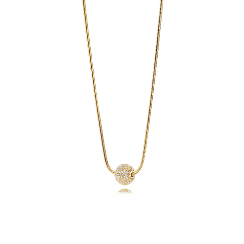 Sphere Necklace - White Diamonds in 18K Yellow Gold