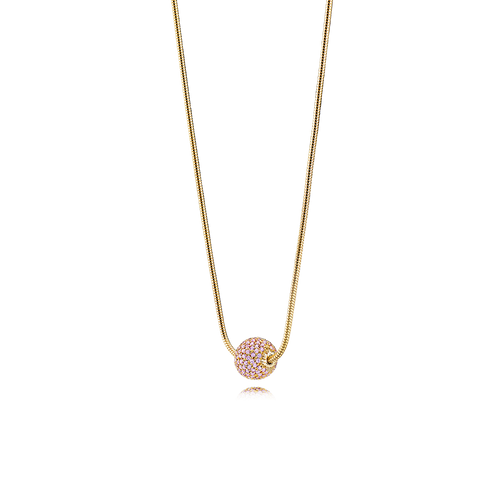 Sphere Necklace - Pink Sapphires in 18K Yellow Gold