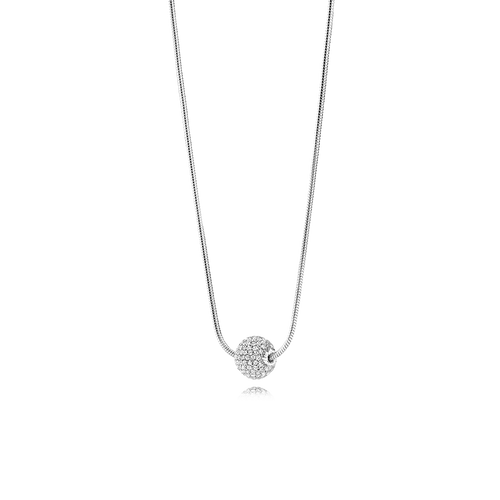 Sphere Necklace - White Sapphires in 925 Sterling Silver