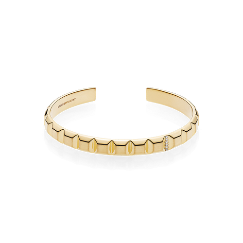 Pyramid Bangle - White Diamonds in 18K Yellow Gold
