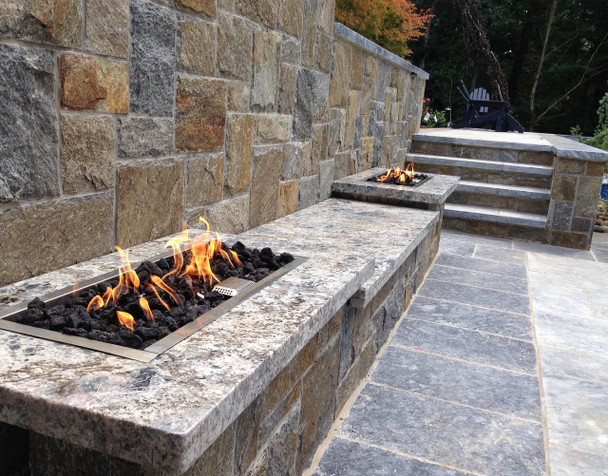 Custom Stone, Marble, Tile, Granite, Porcelain and Dekton Countertops available for your OUTDOOR FIRE FEATURE  Call or Contact us for Details 1-855-GET OUTDOORS...