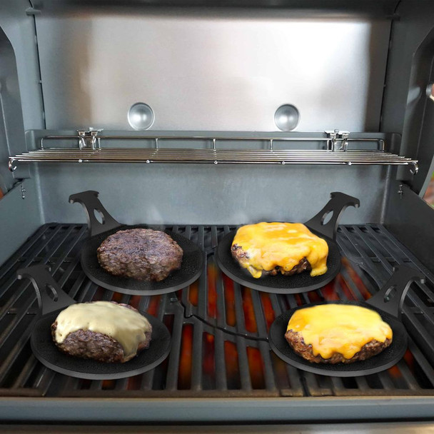 """Perfect grill accessory gift for the griller in your life! 6"""" Diameter is perfect for generous burgers Use with any gas, electric, wood / charcoal grill or camp fire Great for the whole family and parties Precision laser cut from solid US steel for ready to use food grade finish Made in USA, guaranteed not to break or crack Designed to last a lifetime Comes in a set of 4 Burger Pucks"""