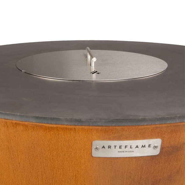This stylish stainless lid covers the center opening of the Arteflame grill and protects it from snow, leaves or other debris from entering.  In the winter, it eliminates the need to scoop out snow before building a fire in your Arteflame.  It also functions as a way to help extinguish the fire when you are finished cooking or entertaining.