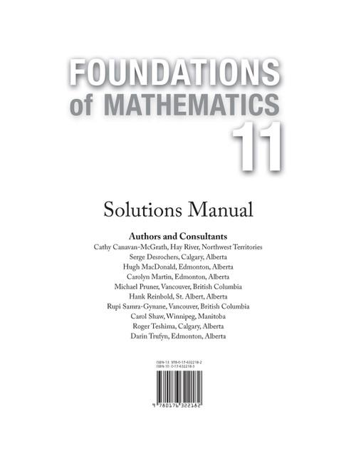 Foundations Of Mathematics - Grade 11   Solutions Manual - 9780176322182
