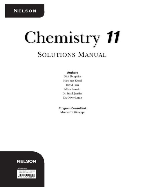 Nelson Chemistry 11 Solutions Manual