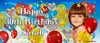 Custom personalised party banner for sale online. Made using a photo, Party balloons theme