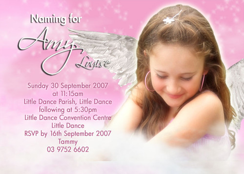 Angelic Naming Christening & Baptism Invitations. Personalised and affordable