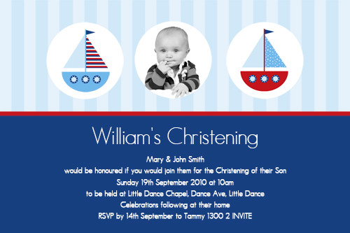 Nautical Sailboard Photo Baptism Invitations & Photo Christening Invitations. Printed in Australia. Buy with Afterpay, Paypal and card