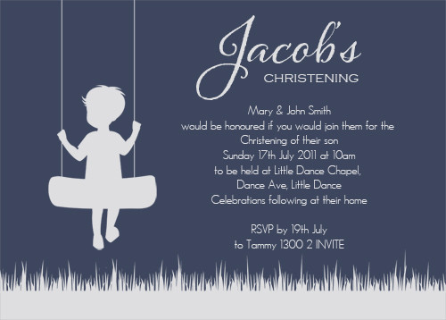 Boy on Swing Baptism Christening & Naming Invitations