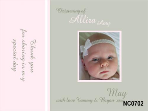 Girls baptismal or christening photo invitation