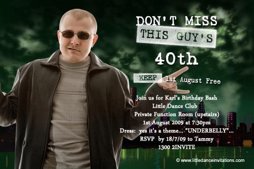 Underbelly Birthday Party Invitations