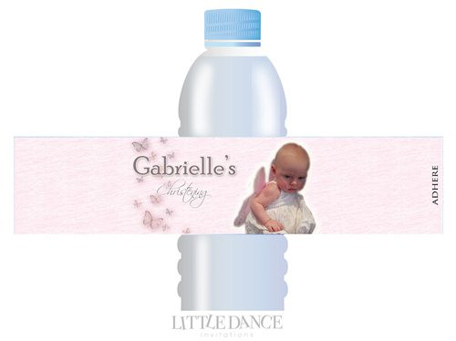 Butterflies Christening, Baptism, Naming Day Personalised Water Bottle Labels. Delivery to Melbourne, Sydney, Brisbane, Canberra, Perth, Adelaide.