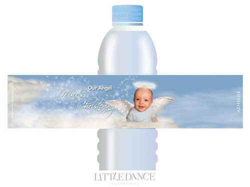 Blue Angel Christening, Baptism, Naming Day Personalised Water Bottle Labels. Affordable christening favors