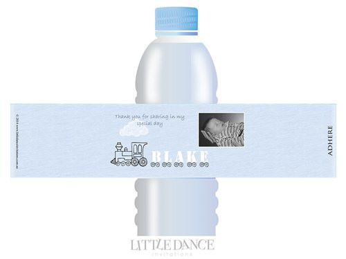 Train themed Christening, Baptism, Naming Day Personalised Water Bottle Label Favors