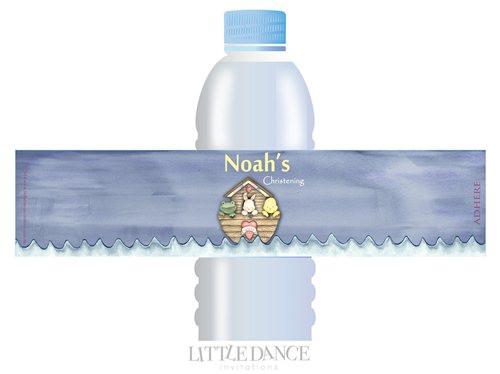 Noahs Ark Christening, Baptism, Naming Day Personalised Water Bottle Labels for sale online.