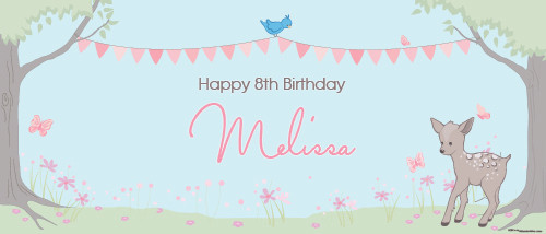 Personalised kids birthday banner for sale online - Enchanted Forest theme