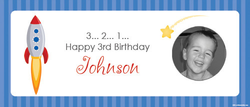 Space Themed Birthday Party personalised banner. Australian online shop