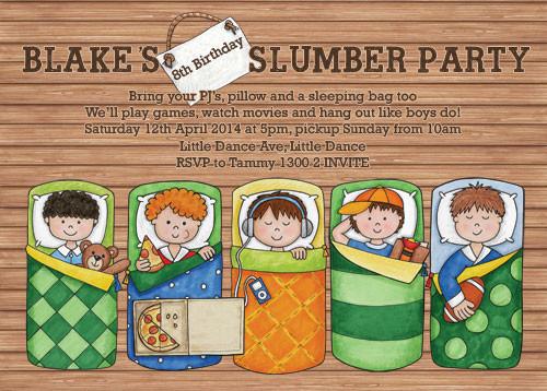 Boys Sleepover Slumber Birthday Party Invitations