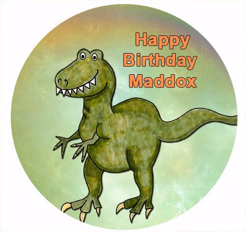 Dinosaur Birthday Cake Personalised Icing sheet