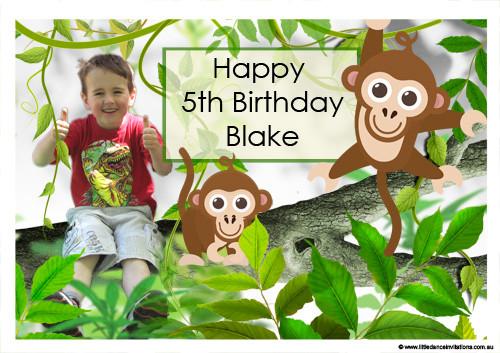 Personalised Monkey Themed Birthday Cake Icing
