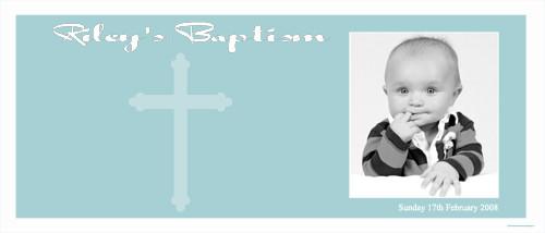 Christening & Baptism Banner - Aqua Religious Cross