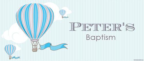 Christening & Baptism Banner - Blue Hot Air Balloon