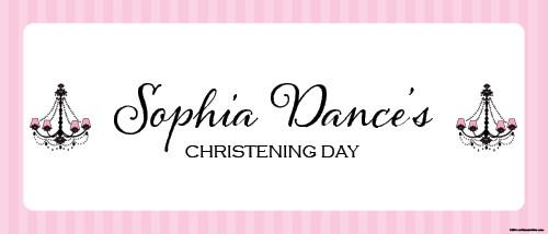 Christening & Baptism Banner - Pink & Black Chandelier