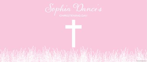Christening & Baptism Banner - Pink Fields Crucifix