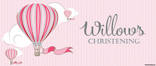 Christening & Baptism Banner - Pink Hot Air Balloon