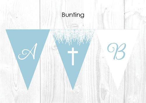 Blue Cross Christening & Baptism Personalised Bunting Decoration Flags