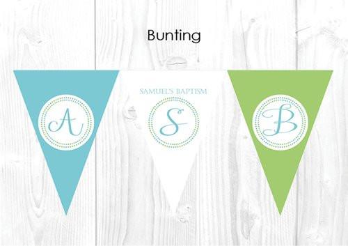 Monogram Christening & Baptism Personalised Bunting Decoration Flags