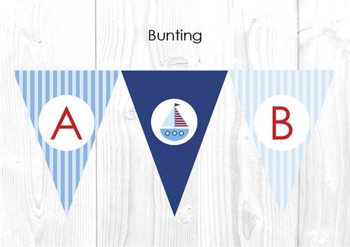 Boys Nautical Sailboat Christening & Baptism Personalised Bunting Decoration Flags