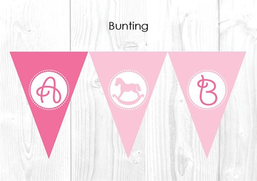 Pink Rocking Horse Christening & Baptism Personalised Bunting Flags